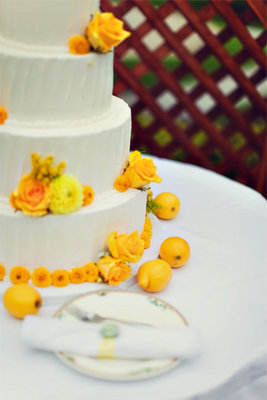 Cakes, Real Weddings, Wedding Style, yellow, Wedding Cakes, Summer Weddings, West Coast Real Weddings, Summer Real Weddings