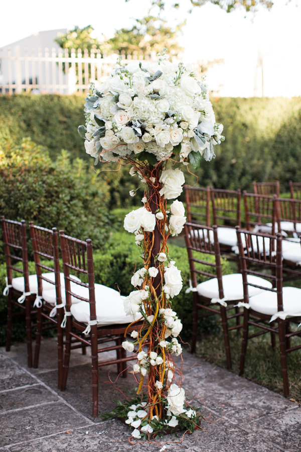 Flowers & Decor, Real Weddings, Wedding Style, white, ivory, Ceremony Flowers, Fall Weddings, Southern Real Weddings, Classic Real Weddings, Fall Real Weddings, Classic Weddings, Garden Weddings, Classic Wedding Flowers & Decor, Southern weddings, chiavari chairs