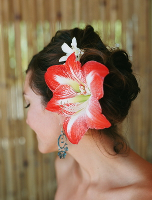 Beauty, Destinations, Real Weddings, Wedding Style, red, Updo, Hawaii, Beach Real Weddings, Summer Weddings, Summer Real Weddings, Beach Weddings, Hair flower