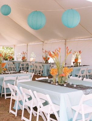 Flowers & Decor, Destinations, Real Weddings, Wedding Style, blue, Hawaii, Tables & Seating, Beach Real Weddings, Summer Weddings, Summer Real Weddings, Beach Weddings, Beach Wedding Flowers & Decor