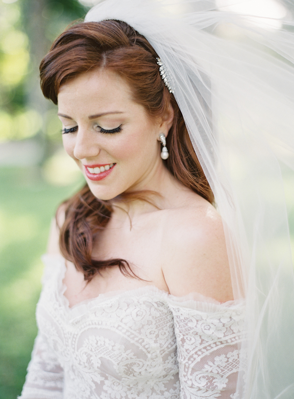 Beauty, Destinations, Real Weddings, Wedding Style, Makeup, Down, Wavy Hair, Long Hair, Fair Complexion, Destination Weddings, Classic Real Weddings, Summer Real Weddings, Classic Weddings, Veil, Romantic Real Weddings, Romantic Weddings