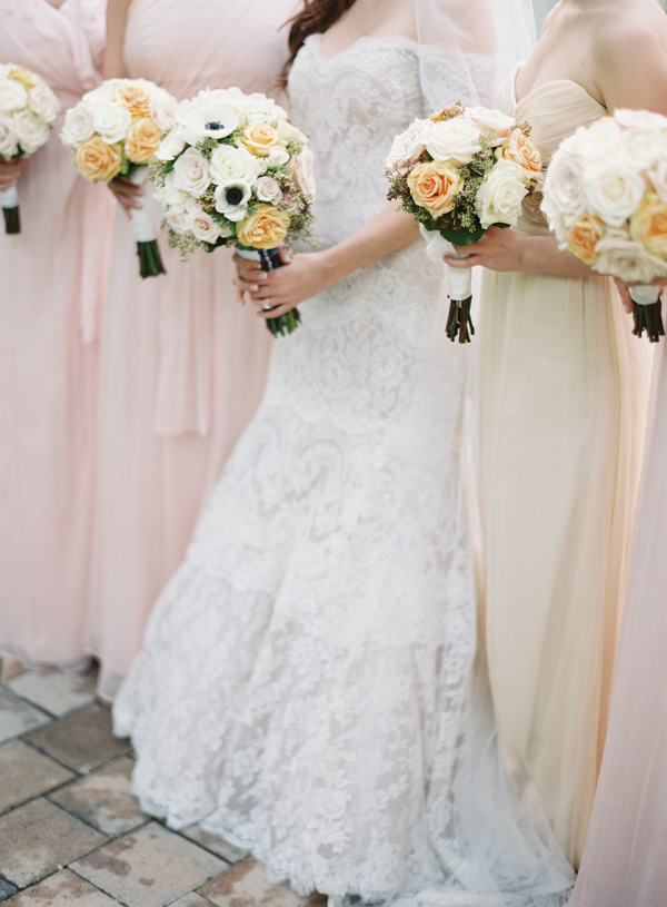Flowers & Decor, Bridesmaids Dresses, Destinations, Real Weddings, Wedding Style, pink, Destination Weddings, Bride Bouquets, Bridesmaid Bouquets, Classic Real Weddings, Summer Real Weddings, Classic Weddings, Peach, Champagne, Colors, Romantic Real Weddings, Romantic Weddings