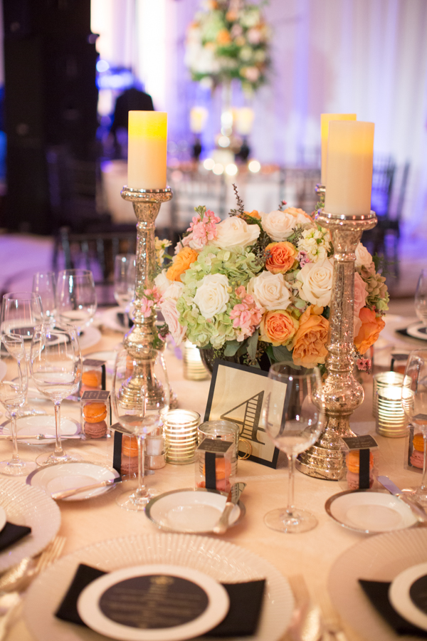 Reception, Flowers & Decor, Destinations, Real Weddings, Wedding Style, orange, pink, Destination Weddings, Centerpieces, Candles, Classic Real Weddings, Summer Real Weddings, Classic Weddings, Classic Wedding Flowers & Decor, Colors, Candlelight, Romantic Real Weddings, Romantic Weddings