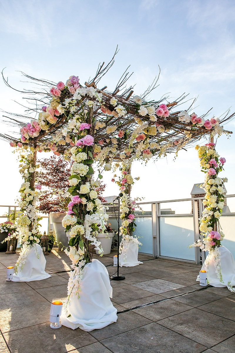 Flowers & Decor, Real Weddings, Wedding Style, white, pink, Ceremony Flowers, Northeast Real Weddings, City Real Weddings, Classic Real Weddings, Classic Weddings, Classic Wedding Flowers & Decor, Chuppah