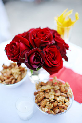Flowers & Decor, Real Weddings, Wedding Style, red, Centerpieces, Summer Weddings, City Real Weddings, Summer Real Weddings, Classic Wedding Flowers & Decor, Fall Wedding Flowers & Decor, Vineyard Wedding Flowers & Decor, Winter Wedding Flowers & Decor, Food & Drink