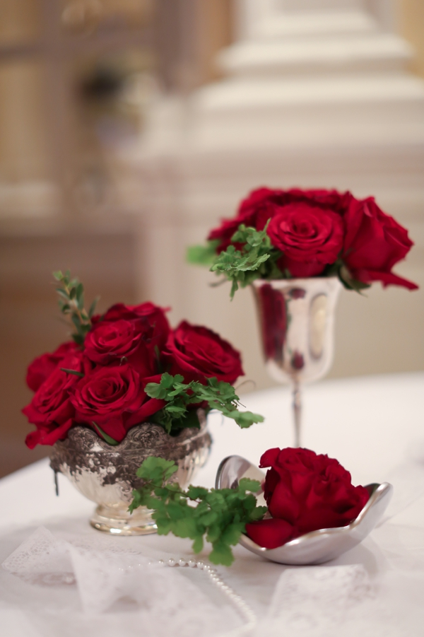 Flowers & Decor, Real Weddings, Wedding Style, red, silver, Fall Weddings, Northeast Real Weddings, Classic Real Weddings, Fall Real Weddings, Classic Weddings, Classic Wedding Flowers & Decor, Roses, Centerpiece, Crimson