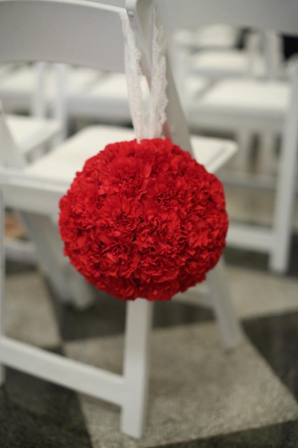 Flowers & Decor, Real Weddings, Wedding Style, red, Ceremony Flowers, Fall Weddings, Northeast Real Weddings, Classic Real Weddings, Fall Real Weddings, Classic Weddings, Classic Wedding Flowers & Decor, Pomander, Crimson