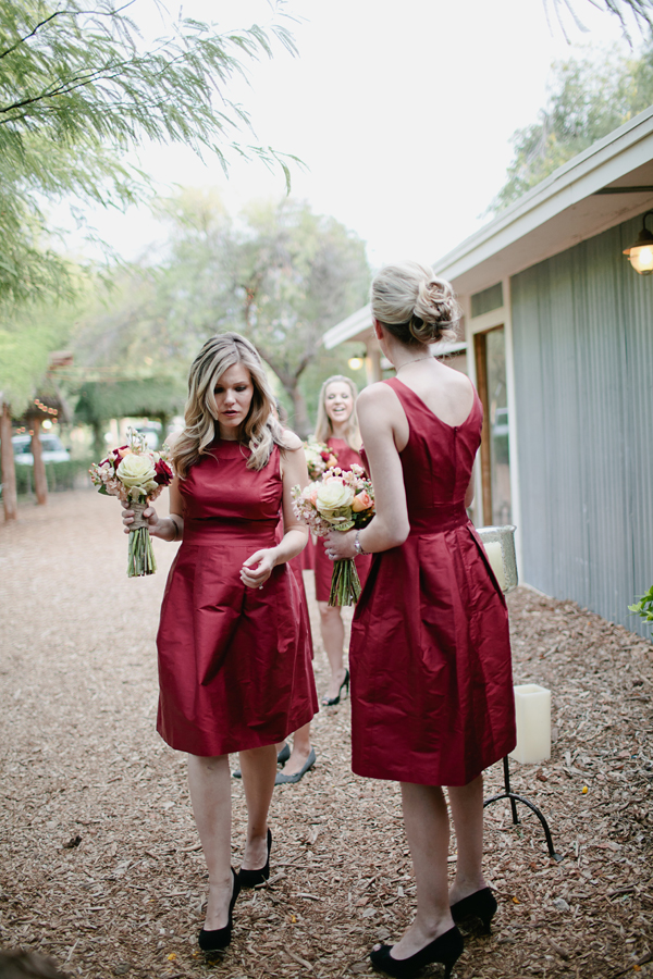 Bridesmaids, Real Weddings, red, Desert, Crimson, rustic romance