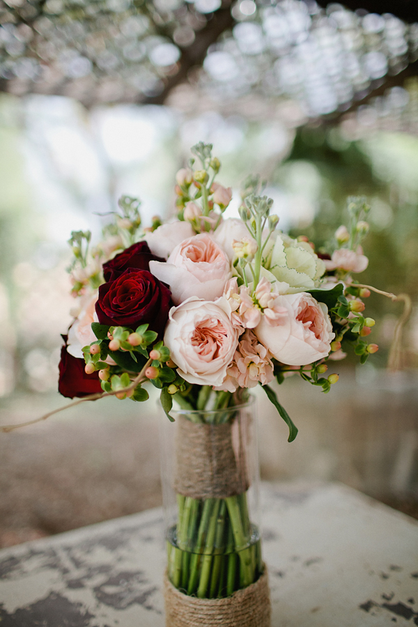Flowers & Decor, Real Weddings, Wedding Style, pink, red, Bride Bouquets, Classic Real Weddings, Classic Weddings, bridal bouquet, Desert, Garden roses, Romantic Real Weddings, Romantic Weddings, rustic romance