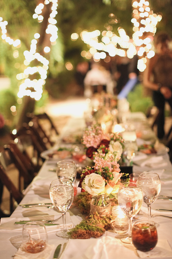Reception, Flowers & Decor, Real Weddings, Wedding Style, pink, red, Centerpieces, Rustic, Lighting, Outdoor, West Coast Real Weddings, Rustic Weddings, Desert, Moss, Tabletop, Candlelight, West Coast Weddings, rustic romance, arizona real weddings, arizona weddings