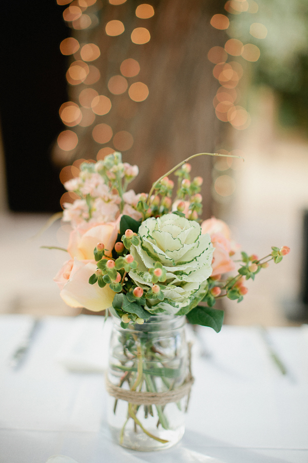Reception, Flowers & Decor, Real Weddings, Wedding Style, pink, green, Centerpieces, Rustic Real Weddings, West Coast Real Weddings, Rustic Weddings, Roses, Centerpiece, Peach, Desert, Mason jar, West Coast Weddings, rustic romance, kale flowers
