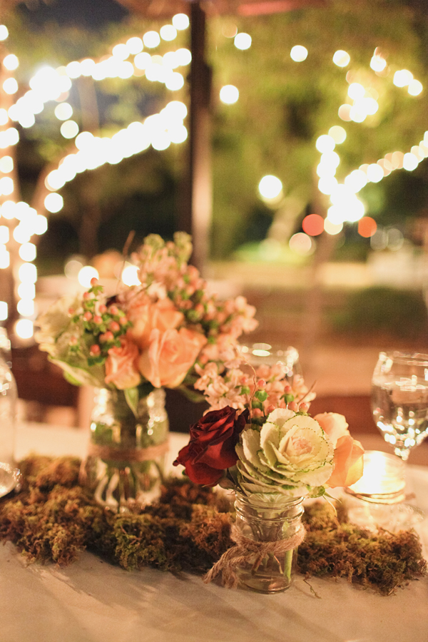 Reception, Flowers & Decor, Real Weddings, Wedding Style, pink, red, Centerpieces, Rustic, Lighting, Rustic Real Weddings, West Coast Real Weddings, Rustic Weddings, Desert, Moss, Tabletop, Candlelight, Mason jars, West Coast Weddings, rustic romance