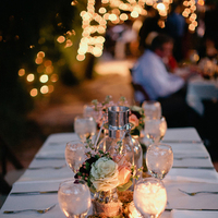 Reception, Real Weddings, Centerpiece, Desert, Candlelight, rustic romance, kale flowers