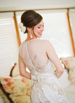Beauty, Illusion Neckline Wedding Dresses, Fashion, Real Weddings, Wedding Style, Chignon, Updo, West Coast Real Weddings, Vineyard Real Weddings, Vineyard Weddings, hair flowers
