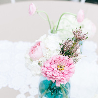 Flowers & Decor, Real Weddings, Wedding Style, blue, Centerpieces, Southern Real Weddings, Summer Weddings, Summer Real Weddings, Summer Wedding Flowers & Decor, Pastel, Mason jars, preppy weddings, preppy real weddings