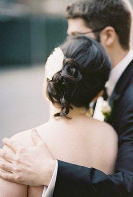 Beauty, Real Weddings, Wedding Style, white, Updo, Spring Weddings, City Real Weddings, Spring Real Weddings, City Weddings, Hair flower