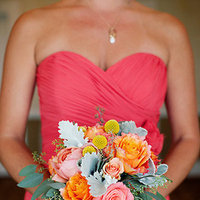 Flowers & Decor, Real Weddings, Wedding Style, orange, pink, Bridesmaid Bouquets, Summer Weddings, West Coast Real Weddings, Summer Real Weddings, Summer Wedding Flowers & Decor, Coral