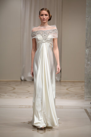 Wedding Dresses, A-line Wedding Dresses, Fashion, ivory, silver, A-line, Off the shoulder, Cap sleeves, Satin, Embroidery, Silk, Bohemian, Reem acra, Crepe, floor length, short sleeves, court train, Off the Shoulder Wedding Dresses, satin wedding dresses, Silk Wedding Dresses, Crepe Wedding Dresses