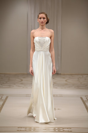 Wedding Dresses, A-line Wedding Dresses, Romantic Wedding Dresses, Fashion, ivory, silver, Classic, Romantic, Strapless, Strapless Wedding Dresses, A-line, Natural waist, Satin, Embroidery, Floor, Silk, Pleated, Reem acra, Crepe, embellished bodice, Classic Wedding Dresses, satin wedding dresses, Silk Wedding Dresses, Floor Wedding Dresses, Crepe Wedding Dresses