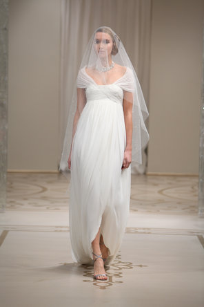 Wedding Dresses, A-line Wedding Dresses, Romantic Wedding Dresses, Fashion, ivory, Romantic, A-line, Off the shoulder, Empire, Asymmetrical, Chiffon, Silk, Bohemian, Reem acra, cap sleeve, short sleeve, court train, Off the Shoulder Wedding Dresses, Chiffon Wedding Dresses, Silk Wedding Dresses