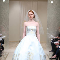 Wedding Dresses, Ball Gown Wedding Dresses, Fashion, blue, gold, Modern, Strapless, Strapless Wedding Dresses, Satin, Embroidery, Chapel, Organza, Natural, Silk, Reem acra, Ball gown, floor length, Modern Wedding Dresses, organza wedding dresses, satin wedding dresses, Silk Wedding Dresses