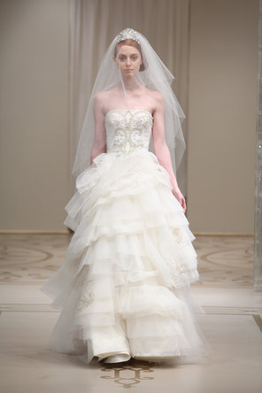 Wedding Dresses, Ball Gown Wedding Dresses, Ruffled Wedding Dresses, Fashion, ivory, silver, Modern, Strapless, Strapless Wedding Dresses, Glamorous, Tulle, Embroidery, Ruffles, Dropped, Reem acra, Ball gown, floor length, Modern Wedding Dresses, tulle wedding dresses