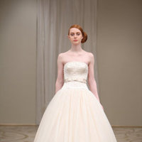 Reem acra, Wedding Dresses, Fashion, Ball gown, Strapless, dropped waist, Embroidery, Sashes, Ribbons, Modern, Romantic, Apricot, ivory, silver, floor length, Satin, Silk, Taffeta, Strapless Wedding Dresses, satin wedding dresses, Silk Wedding Dresses, taffeta wedding dresses, Modern Wedding Dresses, Romantic Wedding Dresses, Ball Gown Wedding Dresses