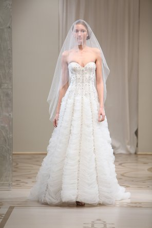 Wedding Dresses, Sweetheart Wedding Dresses, A-line Wedding Dresses, Ruffled Wedding Dresses, Fashion, ivory, Modern, Sweetheart, Strapless, Strapless Wedding Dresses, A-line, Tulle, Embroidery, Chapel, Ruffles, Reem acra, floor length, Modern Wedding Dresses, tulle wedding dresses