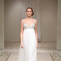 Wedding Dresses, Sweetheart Wedding Dresses, A-line Wedding Dresses, Romantic Wedding Dresses, Fashion, ivory, silver, Romantic, Sweetheart, A-line, Empire, Embroidery, Chiffon, Silk, Bohemian, Tank, Sleeveless, Reem acra, floor length, Chiffon Wedding Dresses, Silk Wedding Dresses