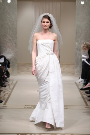 Wedding Dresses, A-line Wedding Dresses, Fashion, ivory, silver, Modern, Strapless, Strapless Wedding Dresses, A-line, Embroidery, Natural, Silk, Taffeta, Reem acra, floor length, court train, Modern Wedding Dresses, taffeta wedding dresses, Silk Wedding Dresses