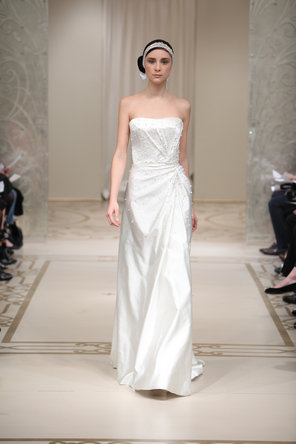 Wedding Dresses, A-line Wedding Dresses, Fashion, ivory, Modern, Strapless, Strapless Wedding Dresses, A-line, Beading, Satin, Natural, Silk, Court, Reem acra, floor length, Modern Wedding Dresses, Beaded Wedding Dresses, satin wedding dresses, Silk Wedding Dresses