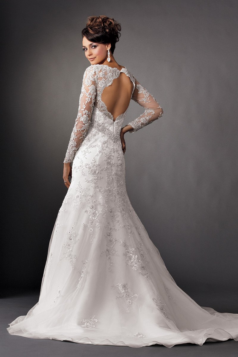 Wedding Dresses, Mermaid Wedding Dresses, Lace Wedding Dresses, Romantic Wedding Dresses, Fashion, white, Winter, Romantic, Lace, Beading, Empire, V-neck, V-neck Wedding Dresses, Floor, Ballroom, Long sleeve, Reflections by jordan, Sash/Belt, Fit-n-Flare, historic site, modern space, illusion sleeves, Beaded Wedding Dresses, winter wedding dresses, Floor Wedding Dresses, Sash Wedding Dresses, Belt Wedding Dresses