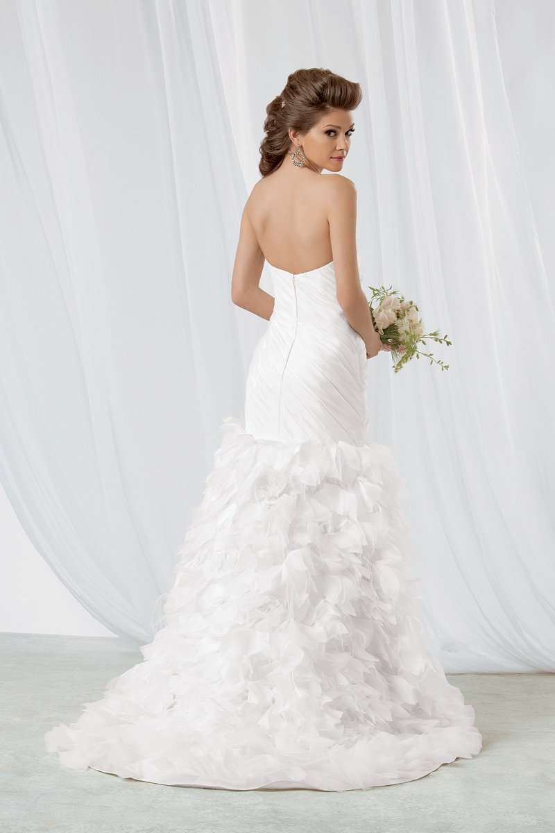 Wedding Dresses, Mermaid Wedding Dresses, Ruffled Wedding Dresses, Fashion, white, Strapless, Strapless Wedding Dresses, Floor, Formal, Organza, Natural, Ballroom, Ruffles, Tiers, Museum, Ruching, Reflections by jordan, Fit-n-Flare, modern space, organza wedding dresses, Formal Wedding Dresses, Floor Wedding Dresses, Tiered Wedding Dresses