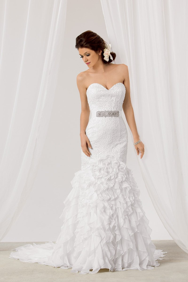 Wedding Dresses, Sweetheart Wedding Dresses, Mermaid Wedding Dresses, Ruffled Wedding Dresses, Lace Wedding Dresses, Fashion, white, Lace, Sweetheart, Strapless, Strapless Wedding Dresses, Floor, Formal, Natural, Ballroom, Country club, Ruffles, Reflections by jordan, Sash/Belt, Fit-n-Flare, modern space, Formal Wedding Dresses, Floor Wedding Dresses, Sash Wedding Dresses, Belt Wedding Dresses