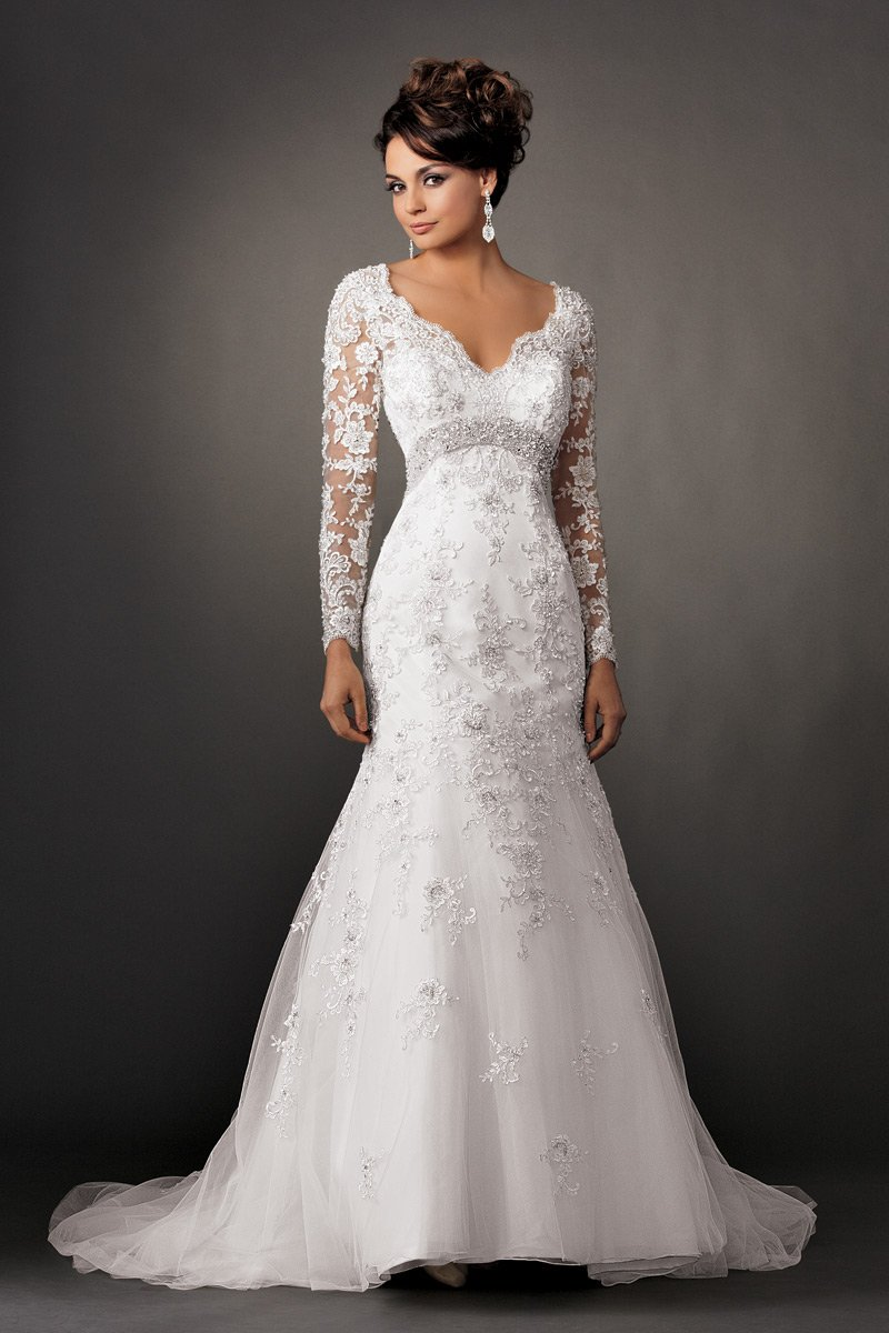 Shown in diamond whitedramatic long sleeve fit and flare for Lace fit and flare wedding dress with sleeves