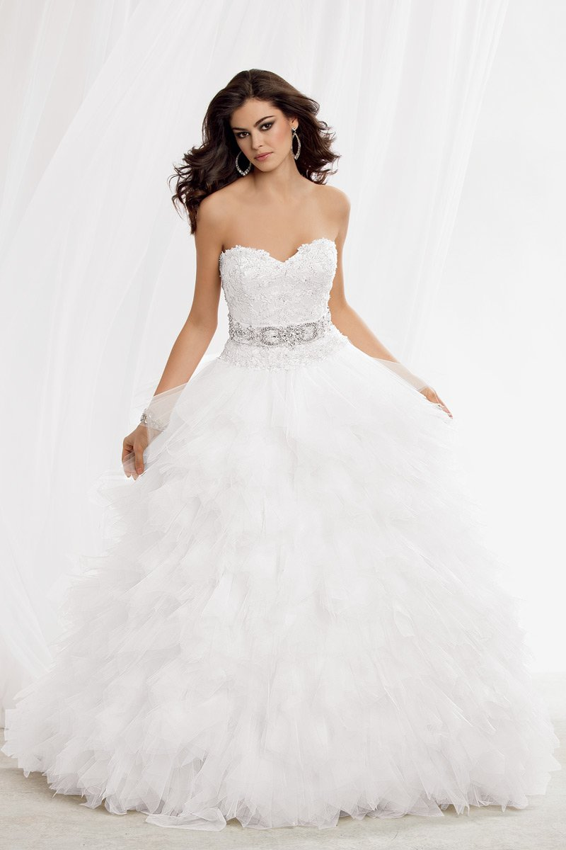 Shown In Diamond Whitestrapless Beaded Lace Bodice With