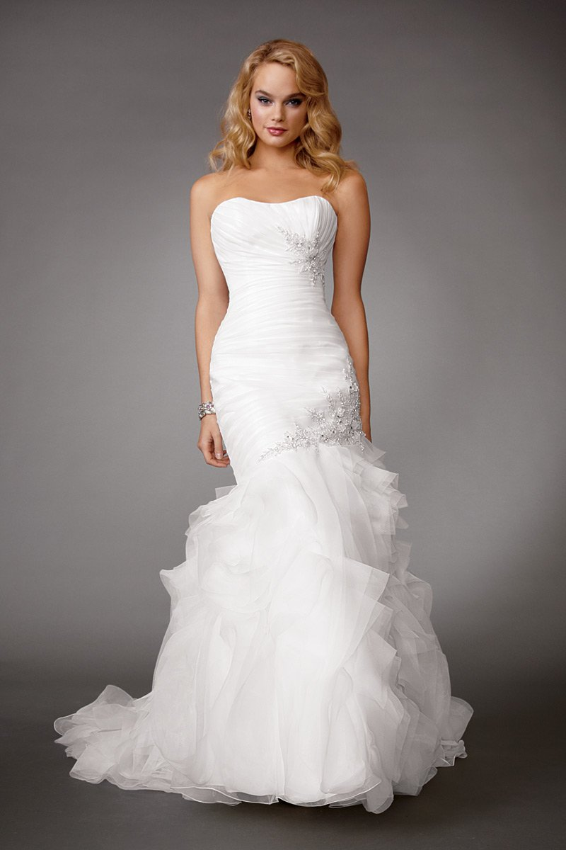 Wedding Dresses, Mermaid Wedding Dresses, Ruffled Wedding Dresses, Fashion, white, Summer, Strapless, Strapless Wedding Dresses, Beading, Floor, Formal, Organza, Ballroom, Ruffles, Dropped, Ruching, Reflections by jordan, Fit-n-Flare, modern space, Beaded Wedding Dresses, organza wedding dresses, Formal Wedding Dresses, Summer Wedding Dresses, Floor Wedding Dresses