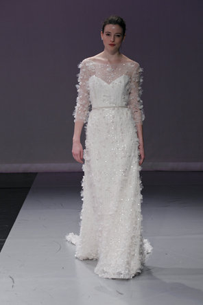 Wedding Dresses, Sweetheart Wedding Dresses, Illusion Neckline Wedding Dresses, Ruffled Wedding Dresses, Fashion, Modern, Sweetheart, Beading, Natural waist, Sheath, Rivini, Embroidery, Organza, Ruffles, Court, Illusion, 3/4 Sleeves, Modern Wedding Dresses, Beaded Wedding Dresses, organza wedding dresses, Sheath Wedding Dresses