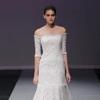 Wedding Dresses, Illusion Neckline Wedding Dresses, A-line Wedding Dresses, Lace Wedding Dresses, Romantic Wedding Dresses, Fashion, ivory, Romantic, Lace, A-line, Off the shoulder, Rivini, Organza, Silk, Illusion, floor length, 3/4 Sleeves, Off the Shoulder Wedding Dresses, organza wedding dresses, Silk Wedding Dresses