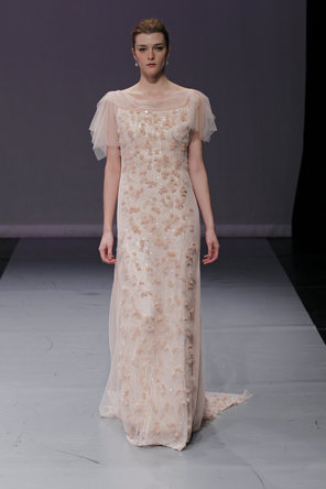 Wedding Dresses, Illusion Neckline Wedding Dresses, Fashion, pink, Modern, Beading, Sheath, Tulle, Rivini, Embroidery, Organza, Bohemian, Scoop, Illusion, short sleeves, Modern Wedding Dresses, Beaded Wedding Dresses, organza wedding dresses, tulle wedding dresses, Sheath Wedding Dresses, Scoop Neckline Wedding Dresses