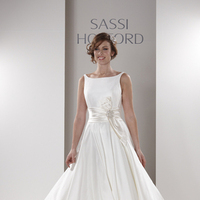Wedding Dresses, Romantic Wedding Dresses, Fashion, Classic, Romantic, Fit and flare, Belt, Bow, Sassi holford, high-neck, Ball gown skirt, satin belt, High Neck Wedding Dresses, Classic Wedding Dresses, thin straps