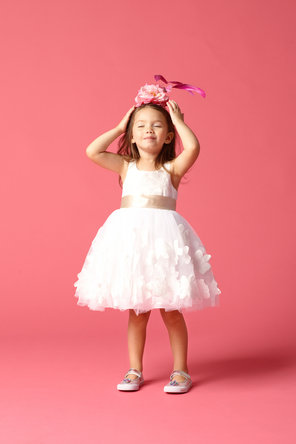 Flower Girl Dresses, Ruffled Wedding Dresses, Fashion, white, Tiered, Ribbons, Sashes, Ruffles, Seahorse, Sleeveless, knee length