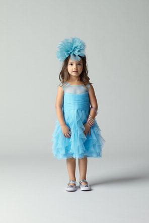 Flower Girl Dresses, Illusion Neckline Wedding Dresses, Ruffled Wedding Dresses, Fashion, blue, Ruffles, Illusion, Seahorse, Sleeveless, knee length