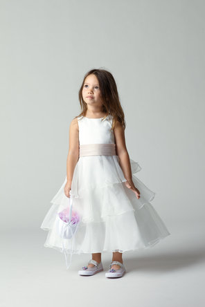 Flower Girl Dresses, Ruffled Wedding Dresses, Fashion, Tiered, Ribbons, Sashes, Organza, Ruffles, Tea-length, Seahorse, Sleeveless, bi-color, organza wedding dresses