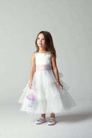 Flower Girl Dresses, Ruffled Wedding Dresses, Fashion, Tiered, Ribbons, Sashes, Organza, Ruffles, Tea-length, Seahorse, Sleeveless, bi-color, organza wedding dresses