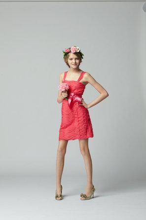 Flower Girl Dresses, Fashion, pink, Ribbons, Sashes, Seahorse, Sleeveless, knee length, square neck