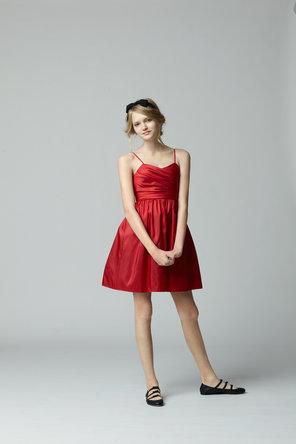 Flower Girl Dresses, Sweetheart Wedding Dresses, Fashion, red, Sweetheart, Spaghetti straps, Seahorse, Sleeveless, knee length, Spahetti Strap Wedding Dresses