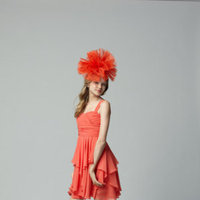Flower Girl Dresses, Fashion, orange, Chiffon, Seahorse, Sleeveless, knee length, square neck, Chiffon Wedding Dresses