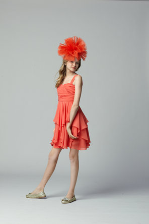 Flower Girl Dresses, Fashion, orange, Chiffon, Seahorse, Sleeveless, knee length, square neck, Chiffon Wedding Dresses