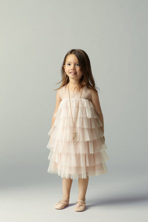 Flower Girl Dresses, Illusion Neckline Wedding Dresses, Ruffled Wedding Dresses, Fashion, Beige, Tiered, Ruffles, Illusion, Seahorse, Sleeveless, knee length, crew neckline